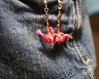 Pink Origami Crane Earrings