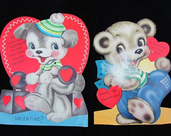 Vintage 40s large Valentine Cards - 8x5 one mechanical, one honeycomb