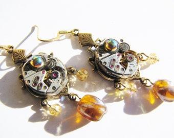 Steampunk Vintage Watch Movement Earrings, Steampunk Earrings, Watch Earrings, Steampunk Watch and Bead Earrings, Beaded Earrings  ERG96