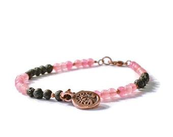 Aromatherapy Diffuser Charm Bracelet, Lava Stones and Rose Quartzite