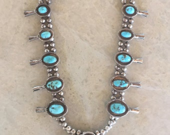 """Turquoise & Sterling Silver Navajo Squash Blossom Necklace, Vintage/Pawn/Estate  (30"""" long)"""