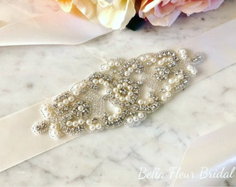 Rhinestone Bridal Sash, Wedding Bridal Belt, Gown Sash, Wedding Dress Sash, Bridal Accessories, Pearl Vintage Sash, Ivory Ribbon Sash