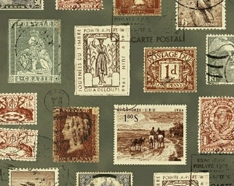 Postage Stamp Fabric, Postmark Fabric - Longfellow by Windham Fabric  41522 5 Sage - Priced by half yard