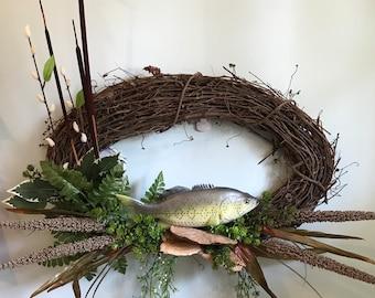 Oval Let's Go Fishin' Grapevine Wreath
