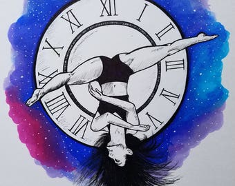 Girl on the Clock - Art Print, Fantasy Art, Space Drawing, Dancer jumping in the air, Acrobat drawing, Galaxy Art Print, Time Drawing