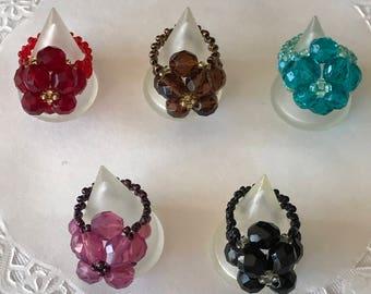 Flower's Czech beads rings