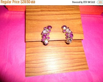 ON SALE Vintage Purple Rhinestone Earrings Designer Signed Karu Jewelry 50's 60's Collectibles Mad Men Mod Black Tie Formal