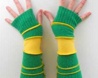 Recycled Sweater Arm Warmers Emerald Sunshine Ducks