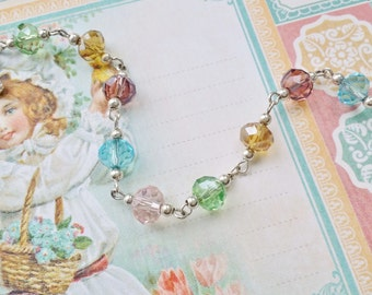"Pastel Beaded Bracelet Vintage Style White Silver Bracelet ""SWEET BABY DREAMS"" New Mother Gift Birthday Gift Easter Jewelry Unique Jewelry"