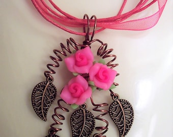 Pink Rose Pendant, Pink Jewelry, Rose Jewelry, Pink Flower Pendant, Floral Jewelry, Rose Necklace, Pink Rose Necklace, Clay Flower Pendant