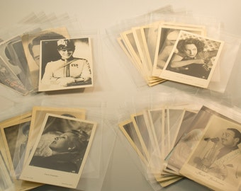 38 vintage trading cards, postcards with celebrities & 11 clippings from 30s/ 40s - one with origional signature, post cards