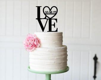 Love Wedding Cake Topper - Love with Wedding Date Cake Topper - LOVE Cake Topper