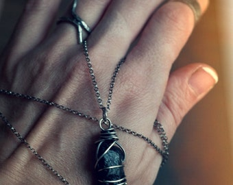 Black tourmaline shard necklace, Burnt Offerings collection, sterling silver wire wrapped Schorl, raw gemstone point, protection talisman