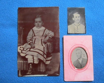 Antique Lot of 3 Tintype Photos Including Young Boy and 2 Gems