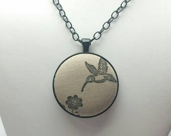 Hummingbird Hand Stamped Fabric Button Necklace