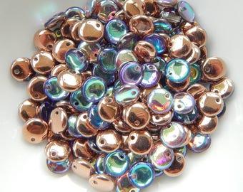 6mm Lentil Top-drilled Copper Rainbow (50 Beads) Czech Glass