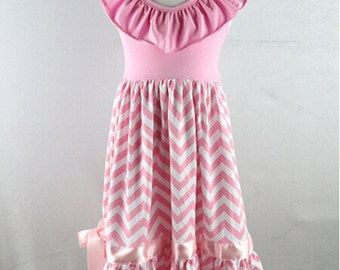 Easter - BLOW-OUT CLEARANCE *  11.00 *  Pink & White Chevron Ruffle Halter Maxi Dress