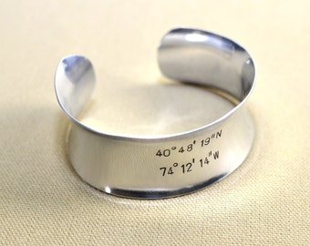 Sterling silver wide latitude and longitude cuff bracelet with personalized coordinates - solid 925 anticlastic arc BR830