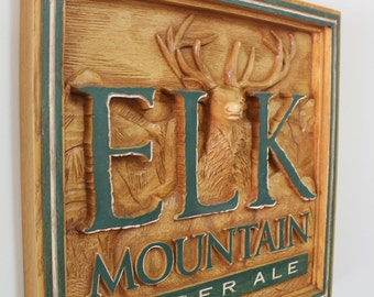 Elk Mountain Amber Ale 3D Sign, Faux Wood Beer Sign, Man Cave, Bar Stuff, Carved 3 Dimensional Sign, Rustic Wall Hanging, Vintage Bar Signs