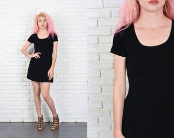 Vintage 90s Black Stretch Dress Bandage Mini Short Sleeve XS Small 11017