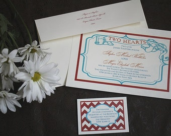 qty 50 Americana Boardwalk style Old-Time hearts retro ragtime old chevron sailor flapper Nautical LOVE red white blue Wedding Invitations