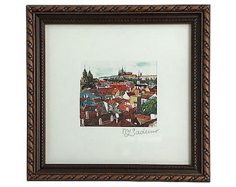 Framed Prague Rooftops Signed Print