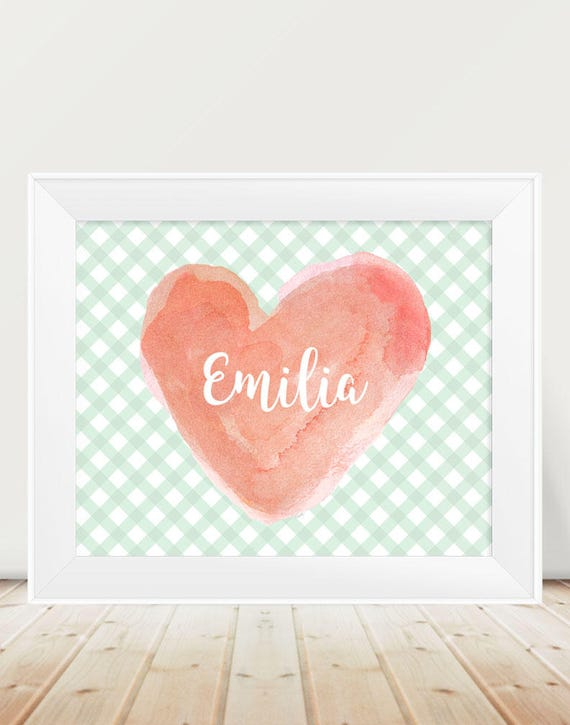 Coral and Mint Print for Little Girls Room, 11x14 Personalized