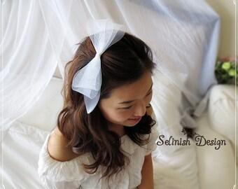 Bridal Bow Headpiece, Wedding Tulle Bow Clip or Headband, Flower Girl Bow, Bridal Fascinator, Bridal Bow Fascinator-HP133tulle