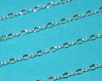 WHOLESALE LOTS 2.5x3.5mm Sterling Silver 925 Italian Diamond Cut Flat Oval Cable CHAIN. Bulk By the foot, Continuous Free Shipping Worldwide