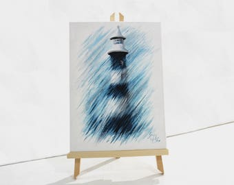 Lighthouse, Rough Lighthouse, Smeaton's Tower, Plymouth, Devon, abstract, painting, gift, present, original, artwork, wall art, wall decor