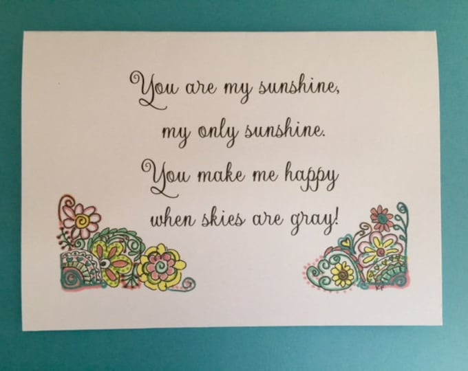 You are my sunshine original design greeting card 5 x 7 art print gift grandchildren grandparent ideas BeachHouseDreams