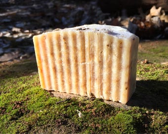 Lavender and chamomile goats milk bath bar made with natural ingredients and essential oils