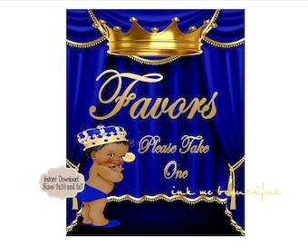 PRINTABLE Royal Baby Shower Favors Sign 8x10 or 5x7, Royal Baby Shower Decor,  Royal Collection