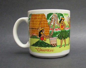 Vintage Hawaiian Hula Dancer with Ukulele Coffee Mug (E10236)