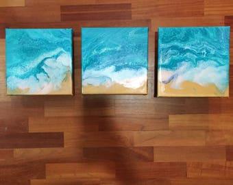 Set of 3 (20x20cm) Seaside painting