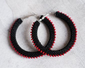 Black Steampunk Earrings, Black and Red Hoop Earrings, Beaded Hoops, Black Hoops, Evening Jewelry, Black Spiky Earrings MADE TO ORDER