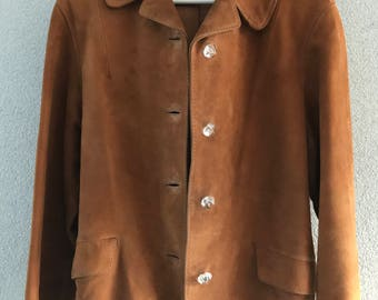 Vintage Vico for Laimböck Amsterdam brown ochre suède jacket or coat, size S