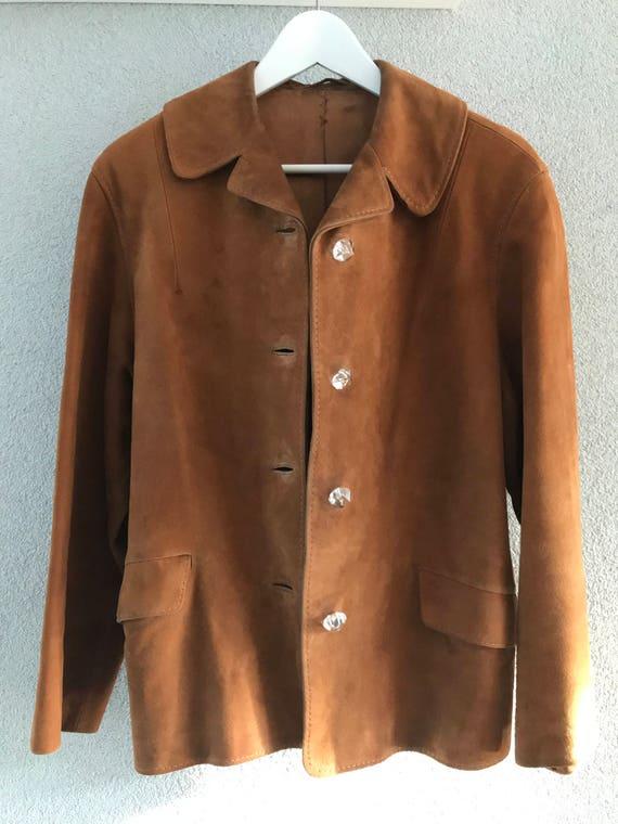 Vintage Vico for Laimböck Amsterdam brown ochre suède jacket or coat, size S
