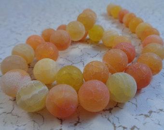 18 Bright Cheery Orange Yellow Chalky Agate Beads 10mm Round Orange Yellow White Smooth Chalky White Agate Beads Round Matte Chalky #S2274