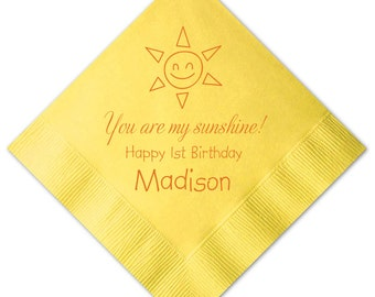 100 Personalized Napkins Sun Birthday Napkins You are my Sunshine Custom Printed Monogram