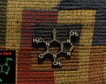 Glow in the Dark Caffeine Molecule Enamel Lapel Hat Pin