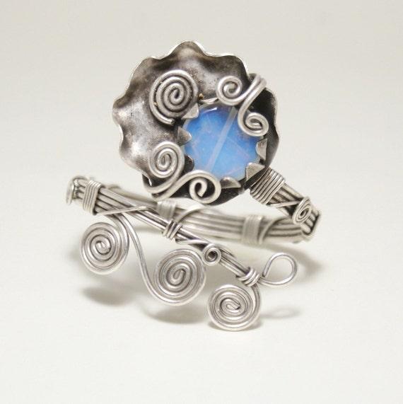 Mondstein Armband Silber Draht umwickelt Draht umwickelt