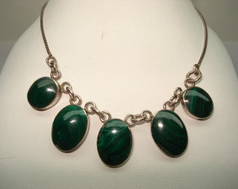 Sterling Silver Malachite  Bib  Necklace 17""