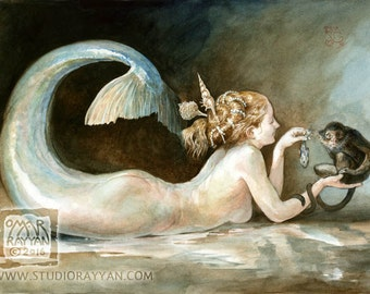 The Mermaid and the Monkey (print) siren, snack time, exotic pets, ocean, seashore, artwork, illustration
