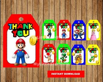 Mario Bros Thank you tags, Printable Mario Bros tags, Super Mario Bros party tags Instant download