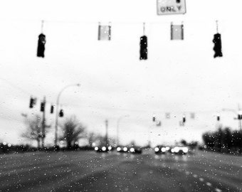 waiting, black and white, fine art print, traffic blur in the rain