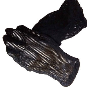 Vintage 50s Black Mesh Gloves black gloves designer gloves accessories