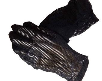 Vintage 50s Black Mesh Gloves black gloves designer gloves accessories