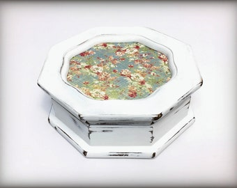 Mother's Day Gift, Octagon Shaped Box Eight Sided White Shabby Trinket Box, Gray Lined Hand Painted Ring Box, Cottage Chic Shabby Style OOAK