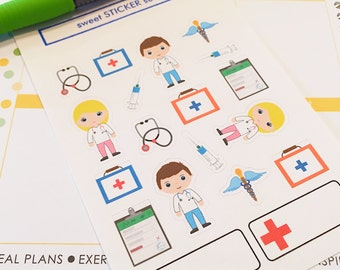 19 Doctor Planner Stickers- Cute Doctor Appointment Reminder Stickers- perfect in your Erin Condren planner, wall calendar or scrapbook